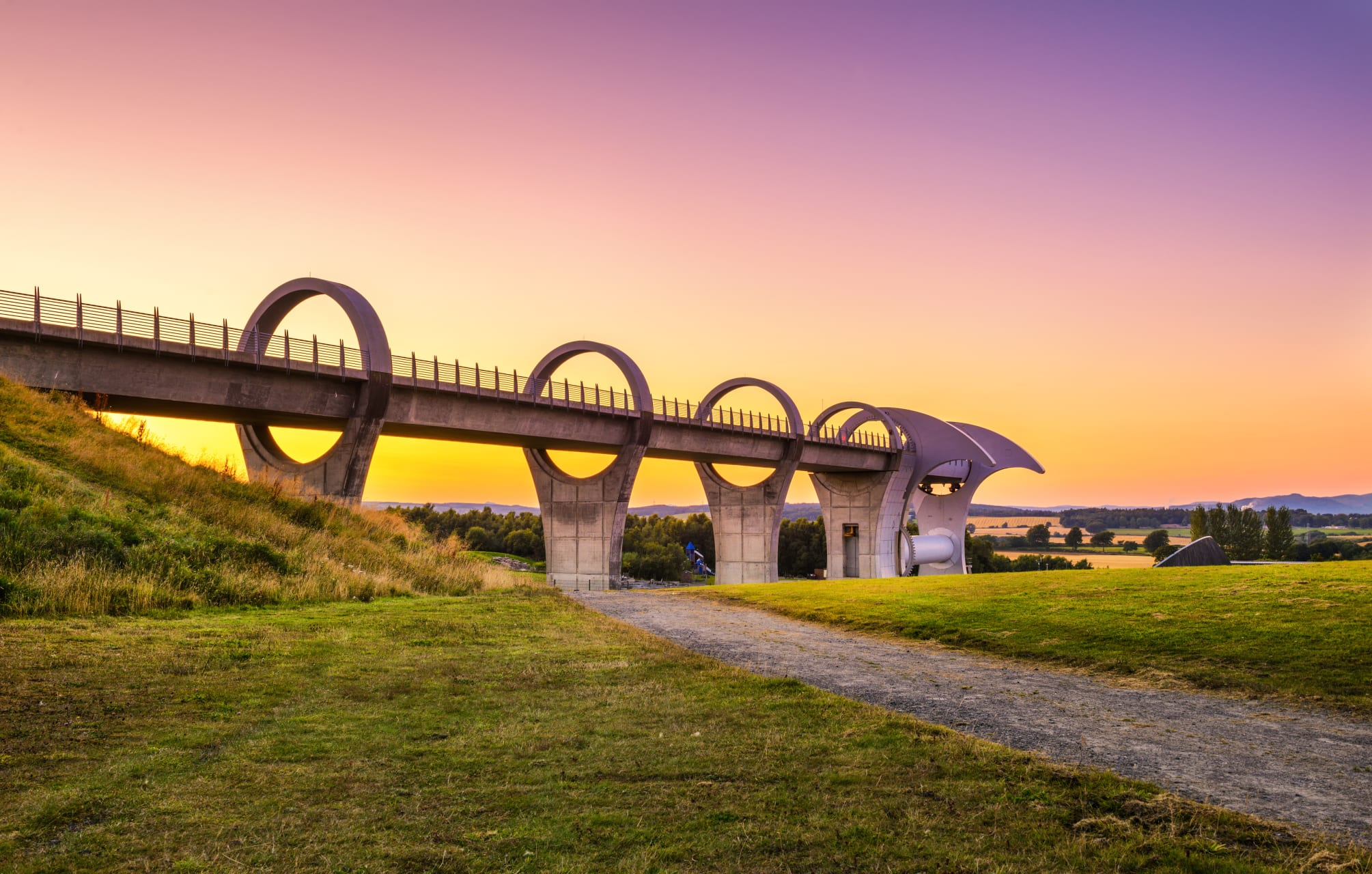 Central Scotland - Falkirk Wheel at Night - the World's First and Only Rotating Boat Lift!
