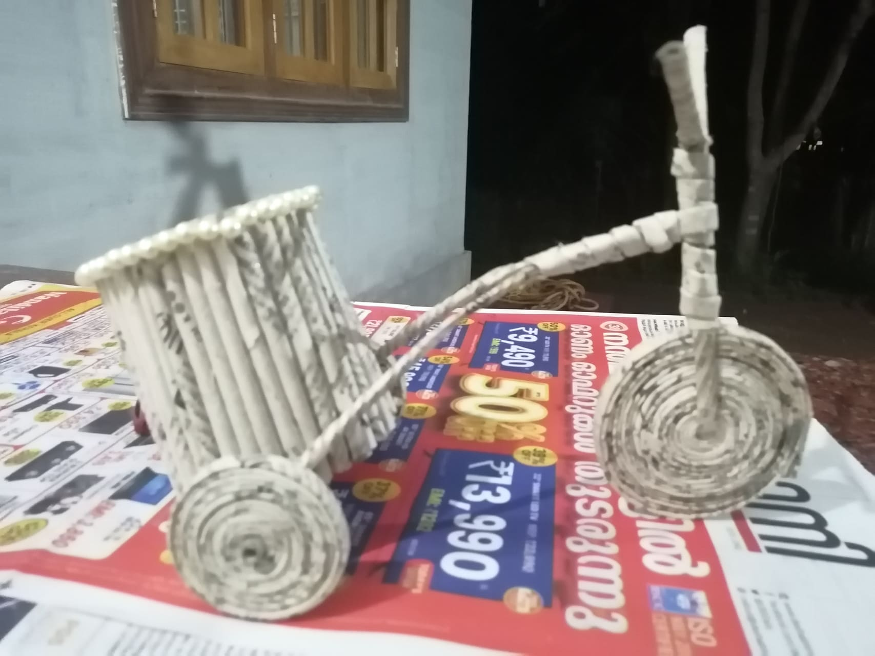 Kerala - Art; Let us Learn to Make a Bicycle With Old Newspapers