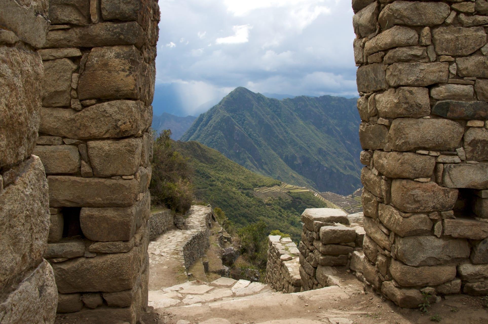 Machu Picchu - Machupicchu from the sun gate the end of the Inca trail