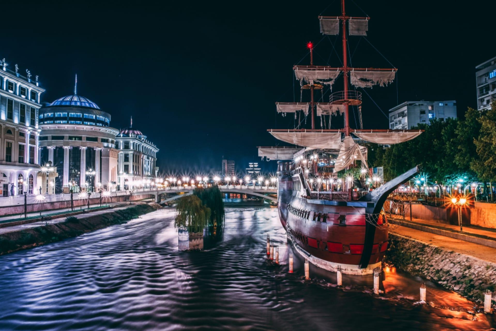 Skopje - Night walk along the Vardar River