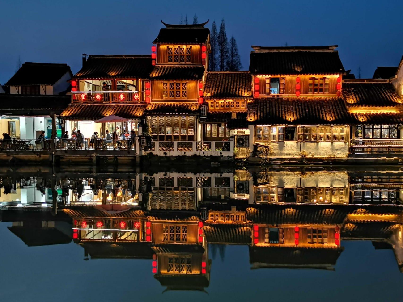 Shanghai - Zhujiajiao Ancient Water Town at Night: A Visual Feast!