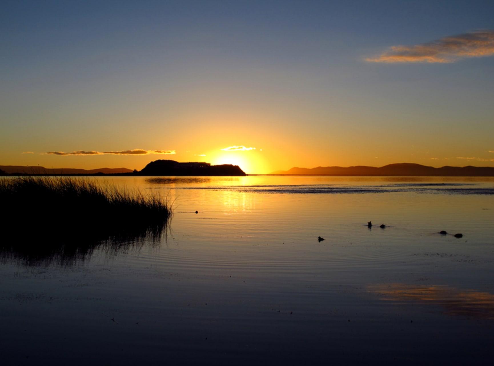 Puno - Sunrise Over the City and Titi Kaka Lake