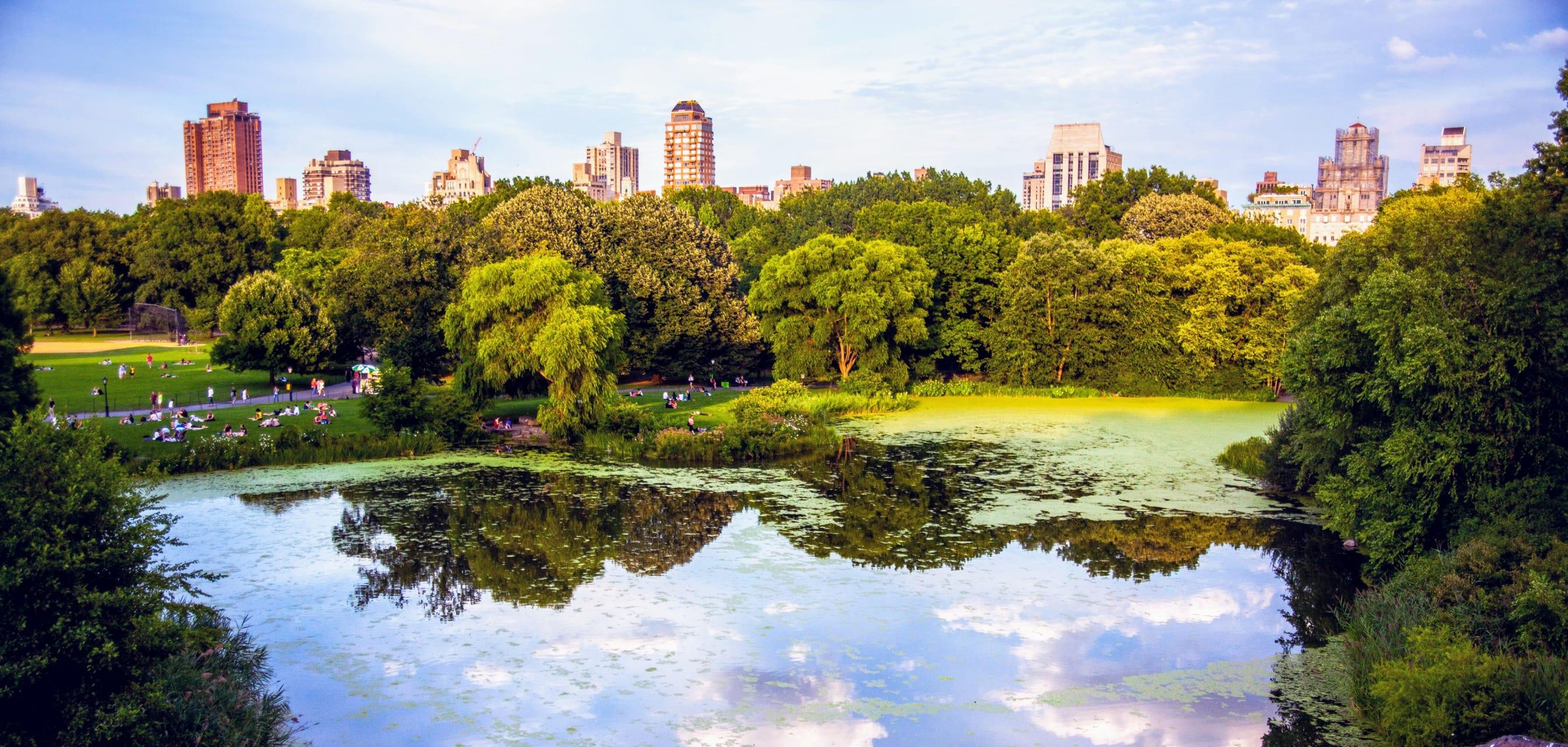 New York - New York City's Central Park: Bethesda Fountain, Bow Bridge and The Lake