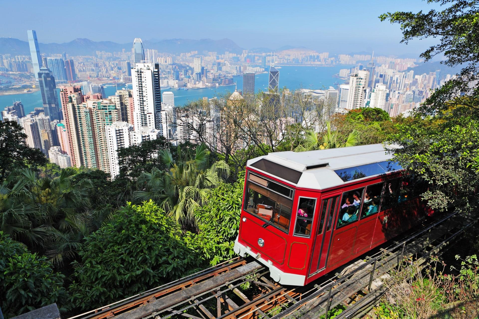 Hong Kong - Taking a Peak Tram to the Victoria Peak