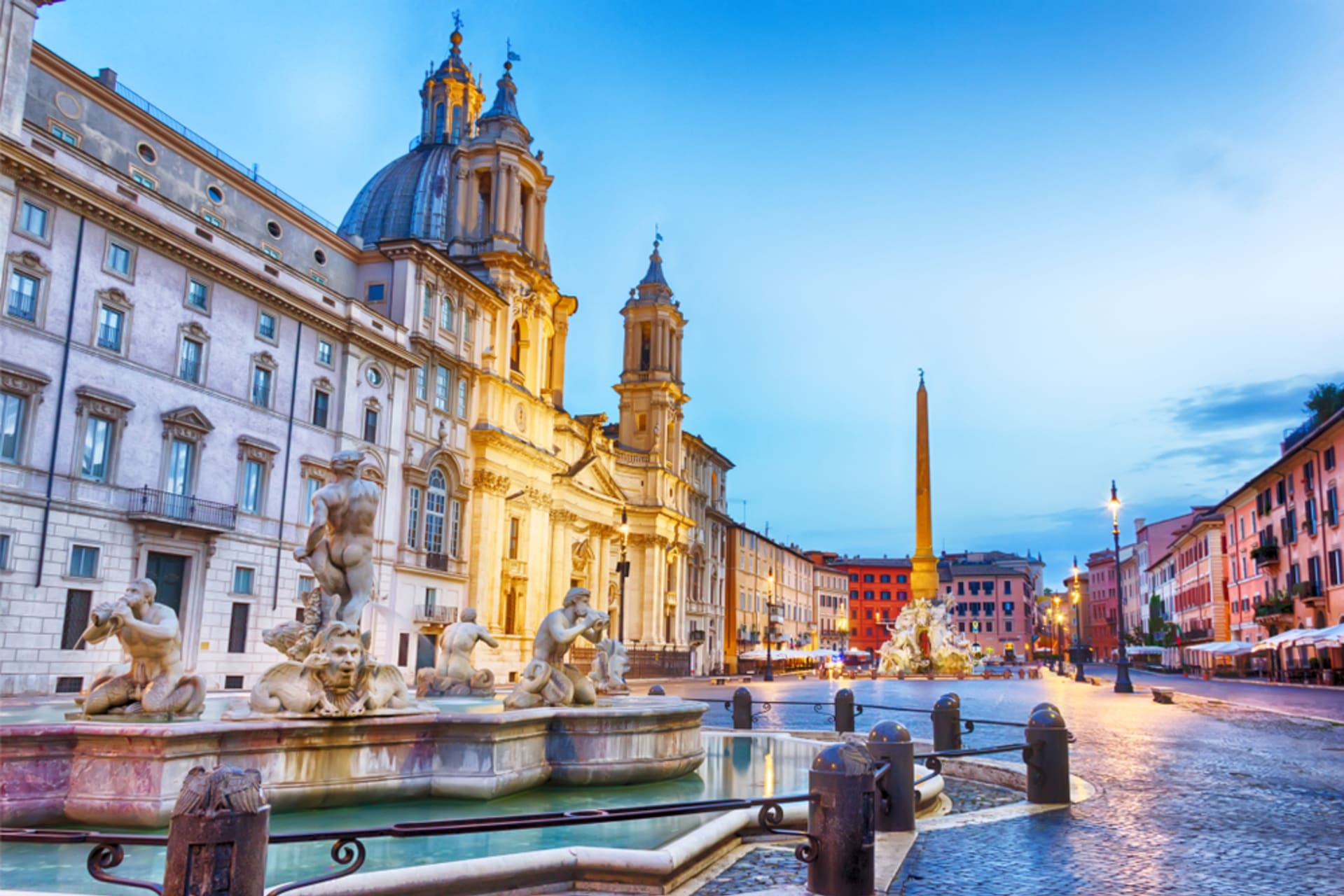 Rome - Navona Square and Caravaggio's painting