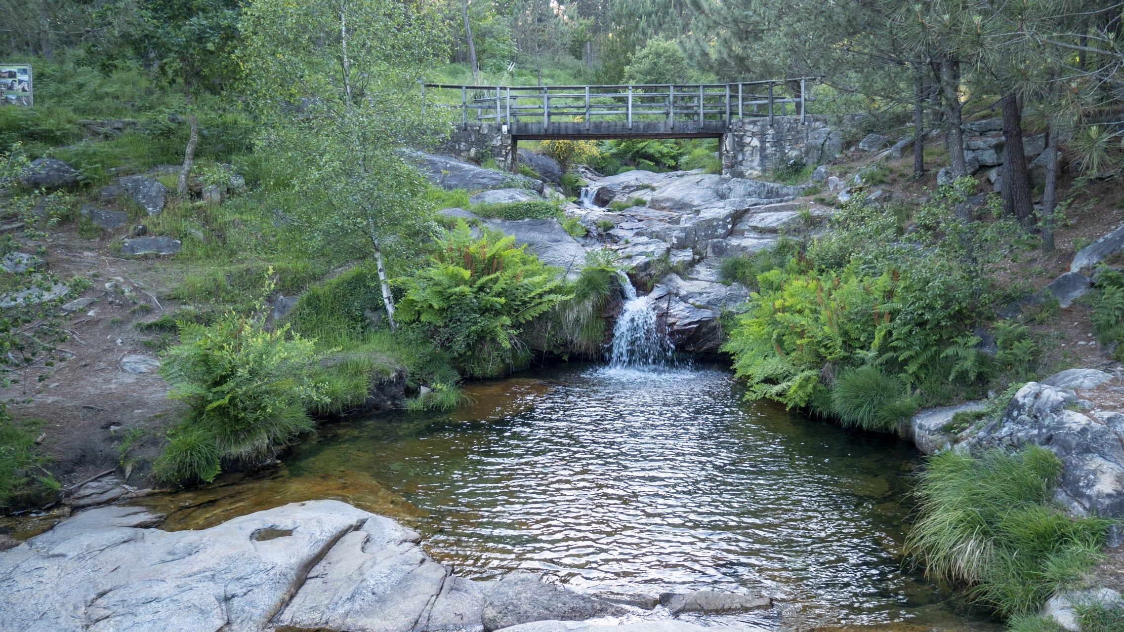 Galicia - Legend of Poza da Moura Waterfall Pool in the hills of Domaio
