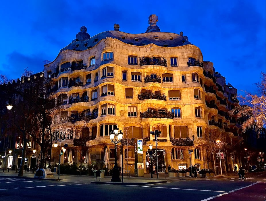 Barcelona - Gaudi's Whimsical Houses by Night