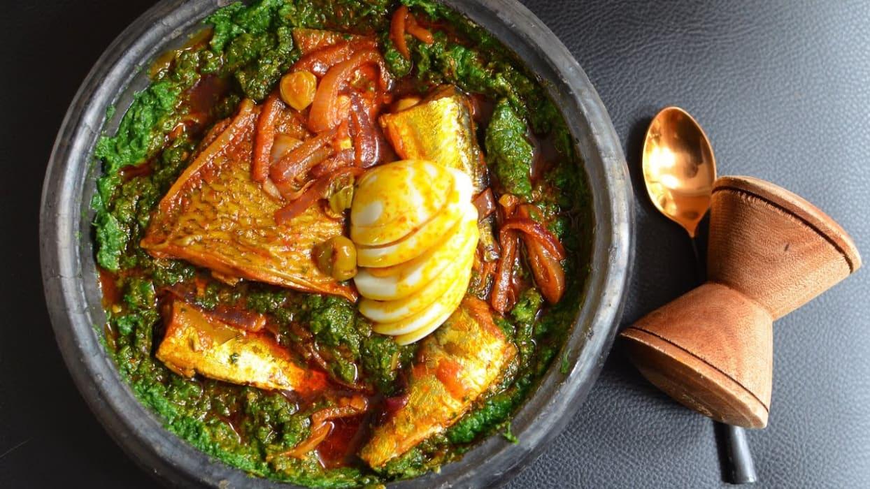 Accra - Ghanaian Delicacies: Palava Sauce and Plantain/Yam
