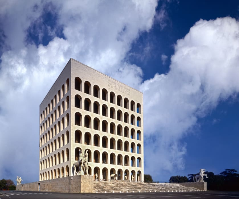 Rome - EUR district: From a massive cloud-shaped building to the Square Colosseum