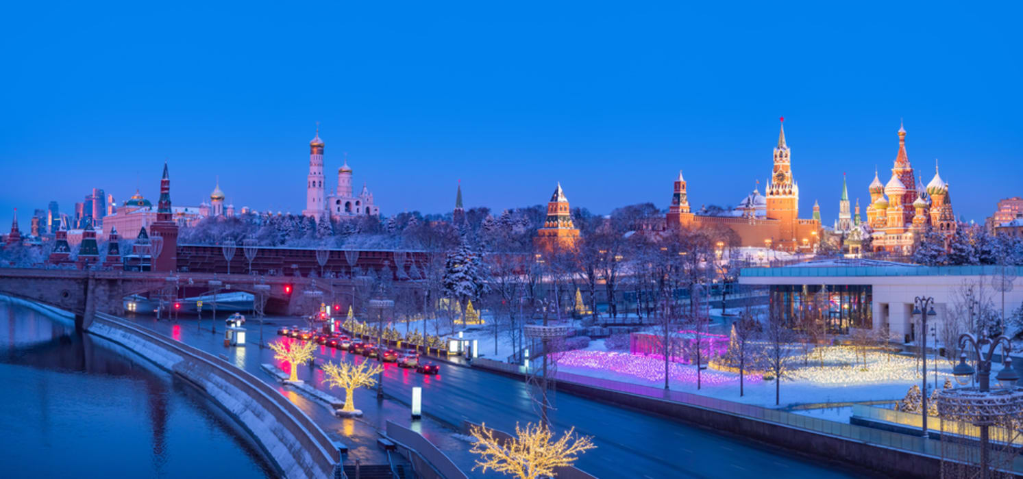 Moscow - Holiday Special - Festive lights in Zaryadye Park