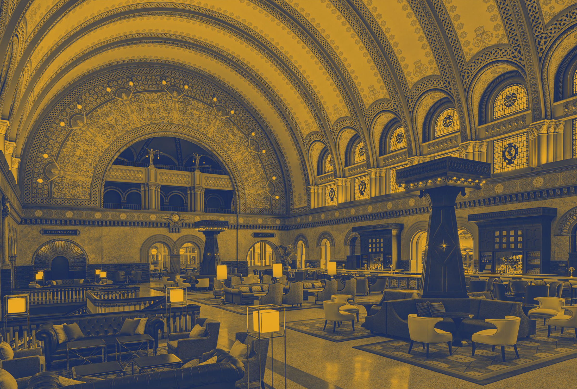 Yellow duotone image of the Grand Hall at Union Station