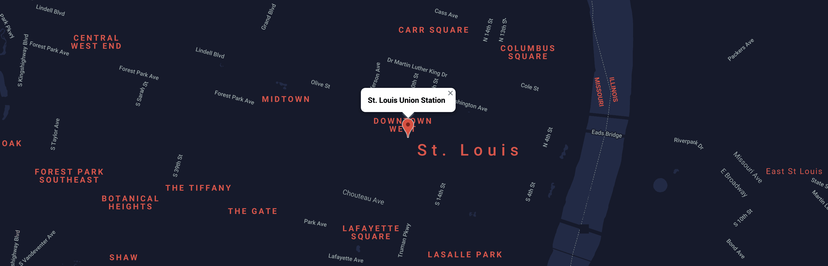 Map of downtown St. Louis near St. Louis Union Station'