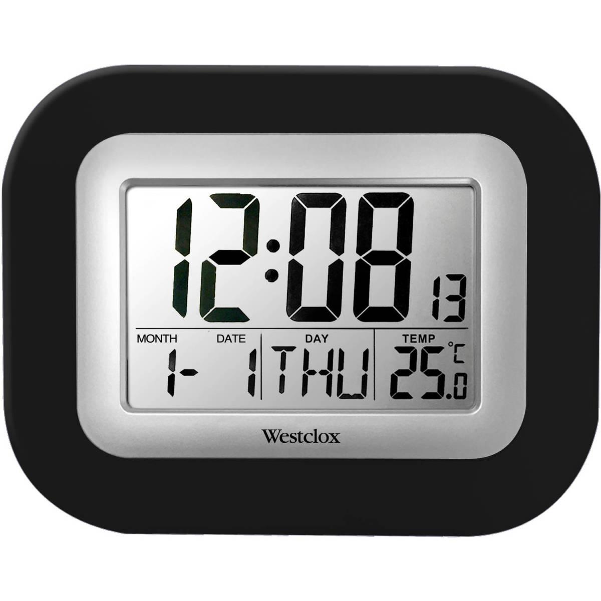 Westclox lcd wall alarm clock digital black snooze calendar details westclox lcd wall alarm clock amipublicfo Gallery