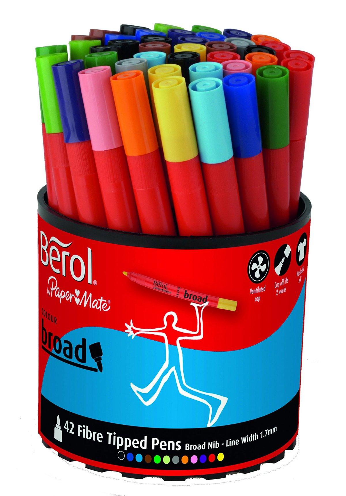 pack of 42 berol colour broad fibre tipped pen assorted colours brand new ebay. Black Bedroom Furniture Sets. Home Design Ideas