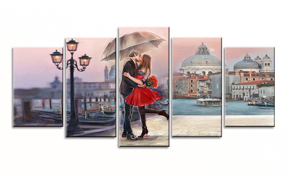 Bedroom Wall Art Decor Sweet Romance Kiss Paris Canvas Oil Painting ...