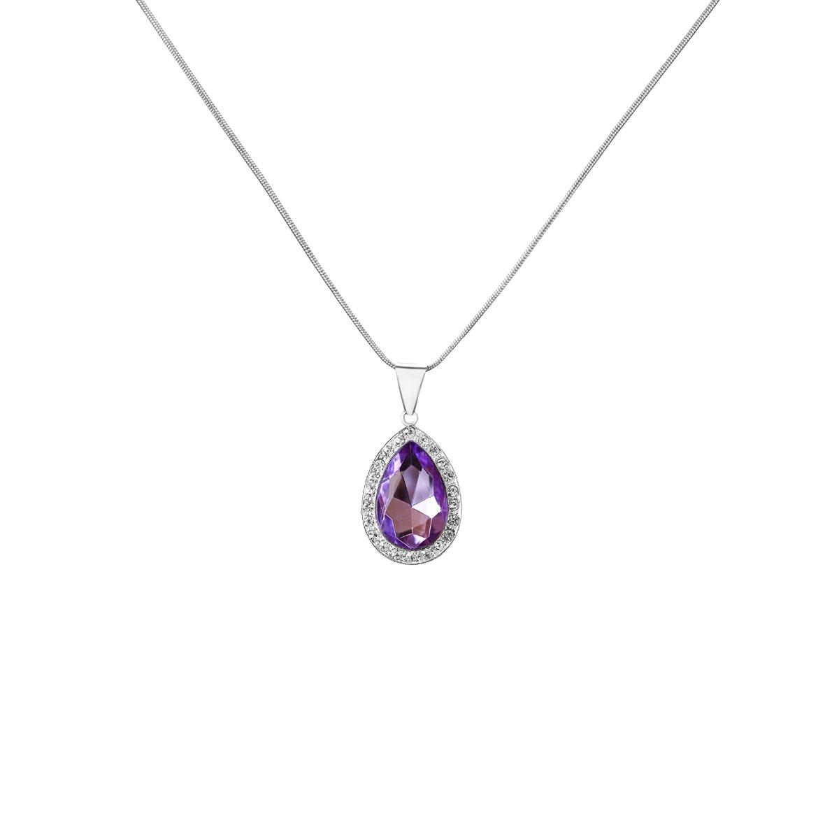Amulet purple crystal pendant teardrop necklace lucky girls jewelry amulet purple crystal teardrop necklace fine jewelry for girls simulated mozeypictures Choice Image