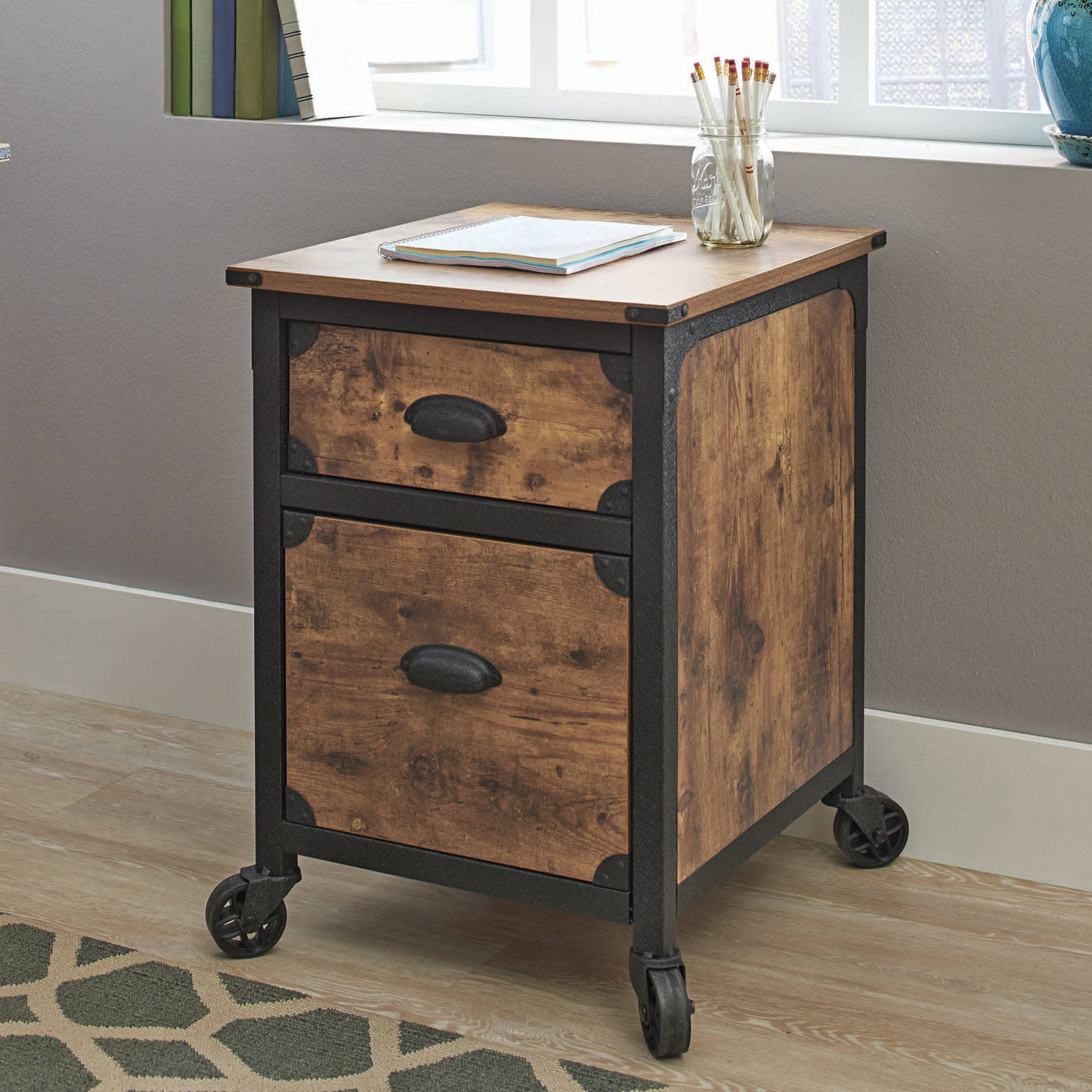 cheap for discount bfccb a34bb Details about Industrial Rustic Wood Black Metal 2 Drawer File Cabinet  Filing Table Office NEW
