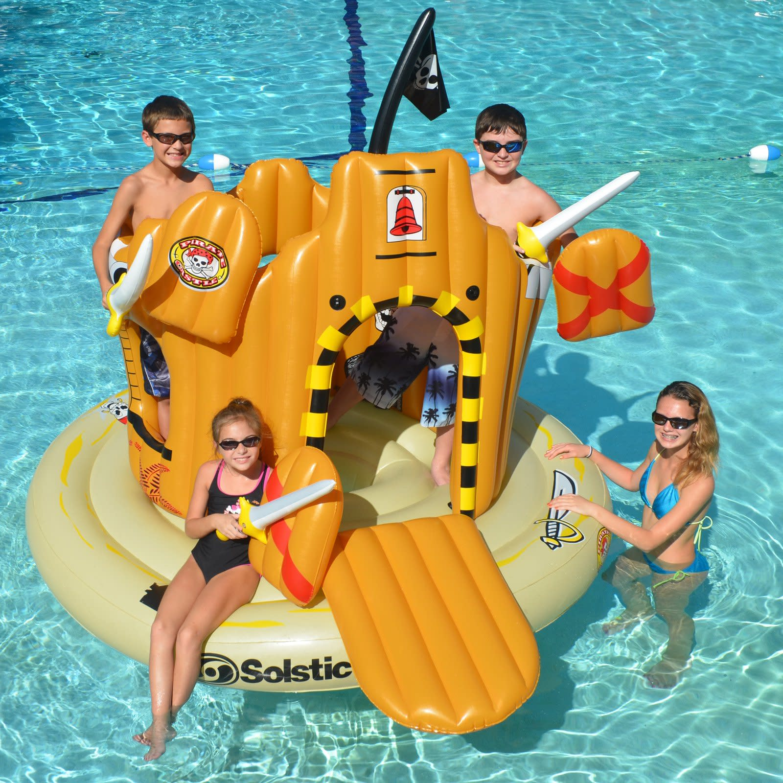 Inflatable Pirate Castle Island Kids Swimming Pool Floating Water