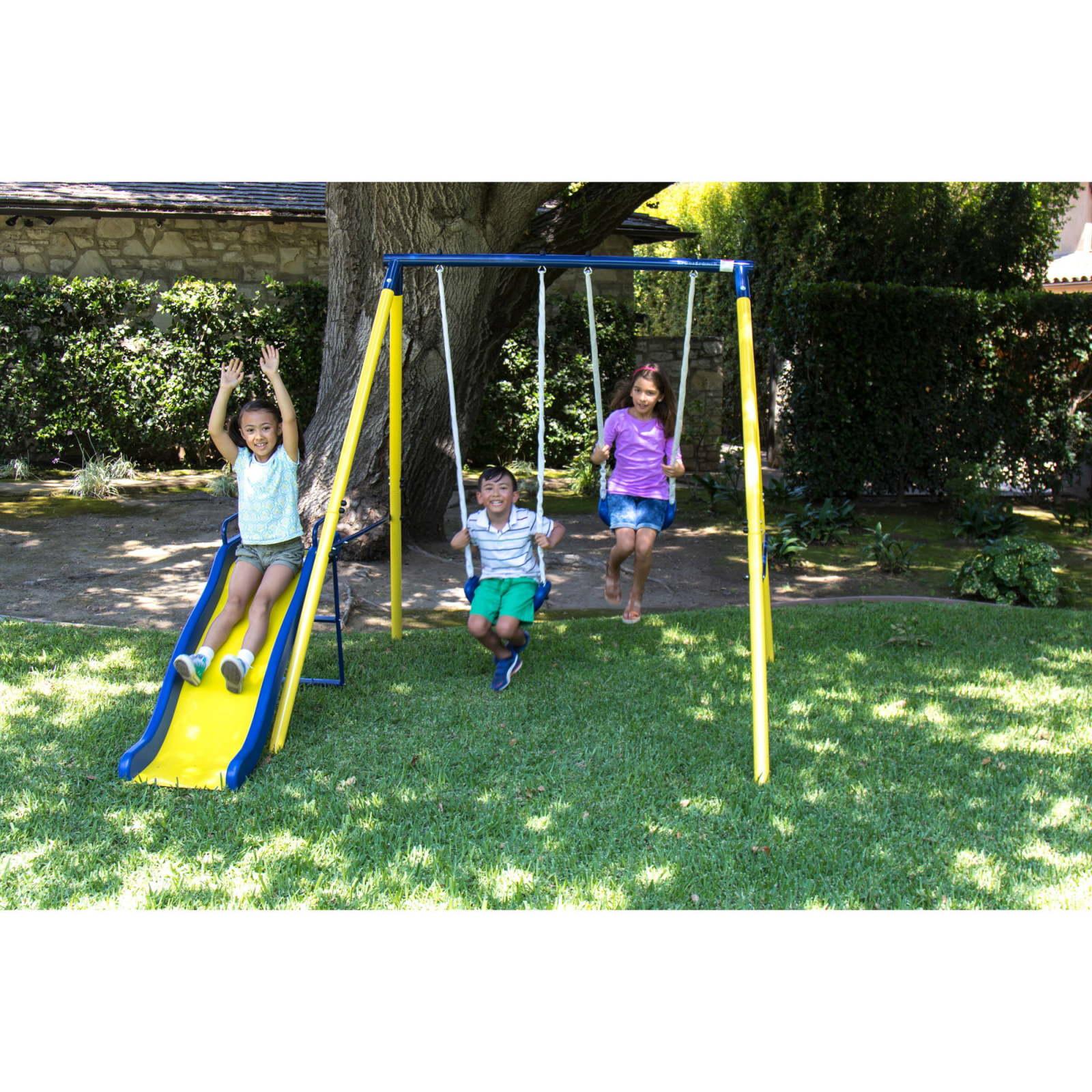 Swing Sets For Backyard Patio Swing For Kids Outdoor Fun Garden Metal Swing  Set