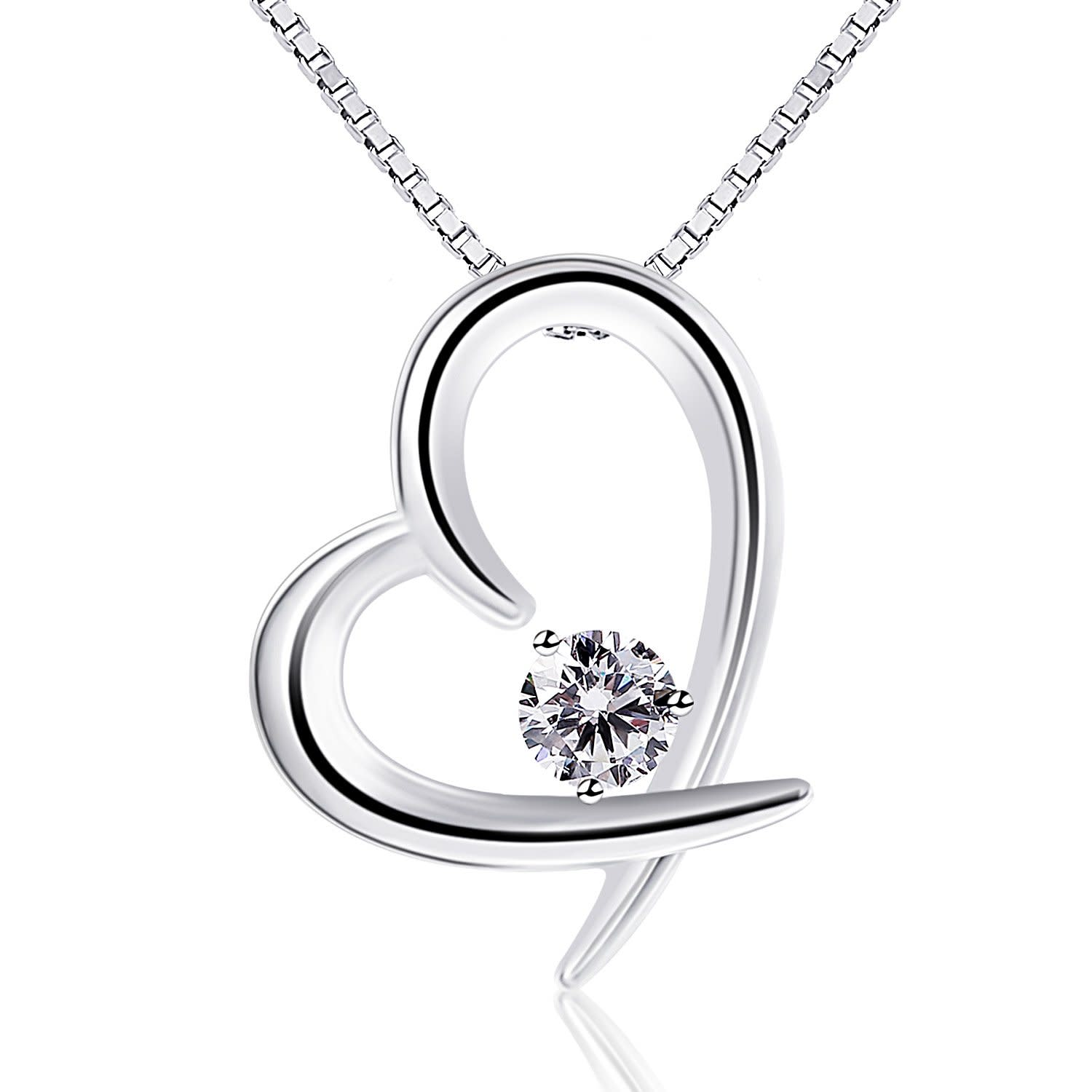 heart diamond silver sterling necklace jewellery
