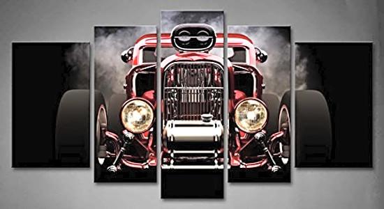 5 Panel Wall Art Hot Rod Home Decor Painting Print Canvas Car Modern ...