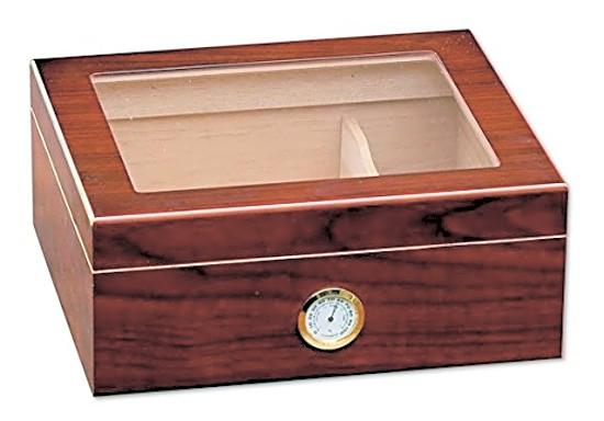 Cigar Humidor Box Mantello Humidifier Quality Importers Wood Case Glass Desktop