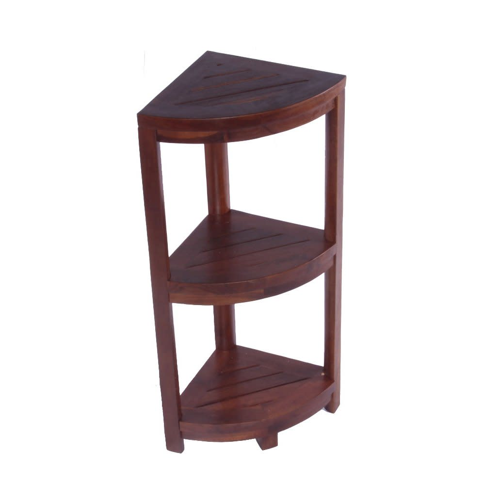 3 Tier Corner Shelf Solid Teak Bathroom Spa Shelves Kitchen Storage ...