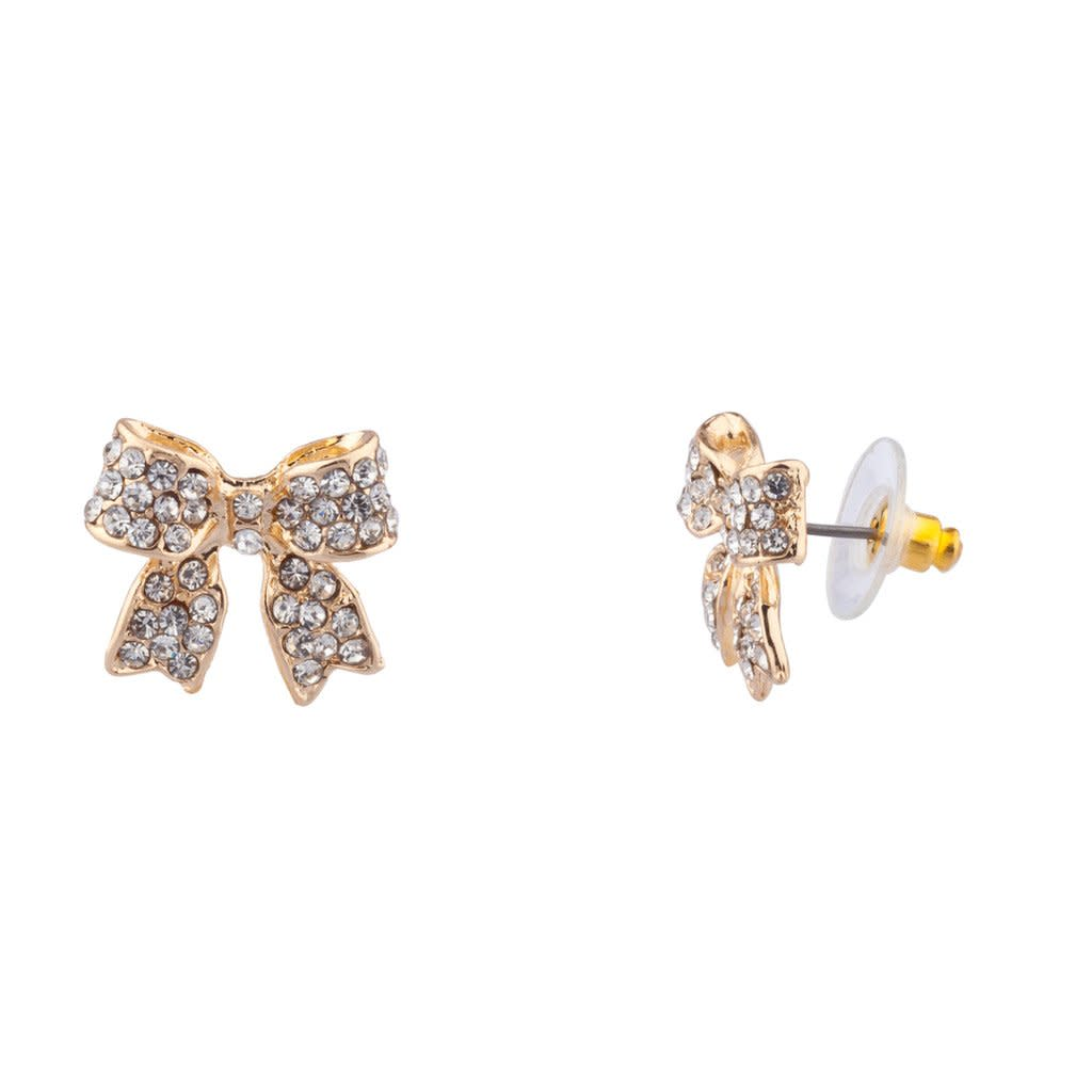 Earrings Girls Lux Accessories Pave Crystal Simple Delecate Bow ...