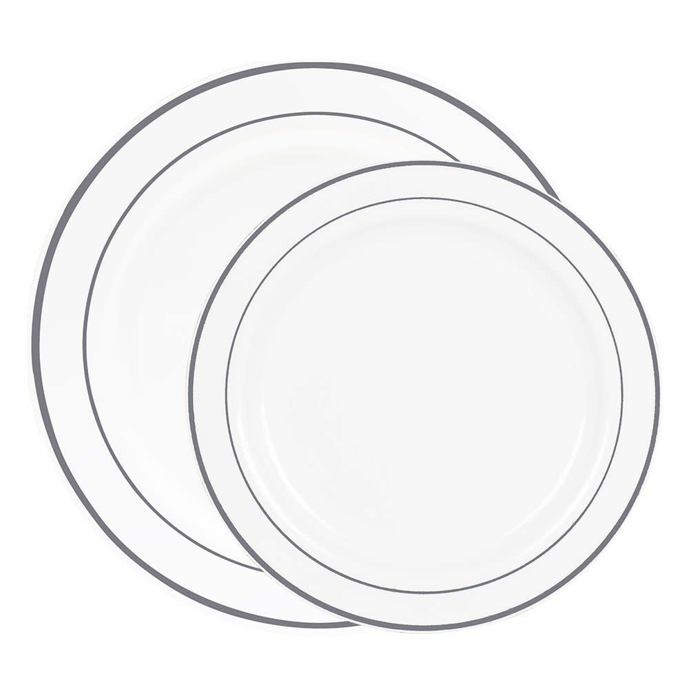 60 Heavyweight Fancy White W Silver Rim Plastic Plates Dinner And Salad Dishes  sc 1 st  eBay & 60 Heavyweight Fancy White W Silver Rim Plastic Plates: Dinner And ...