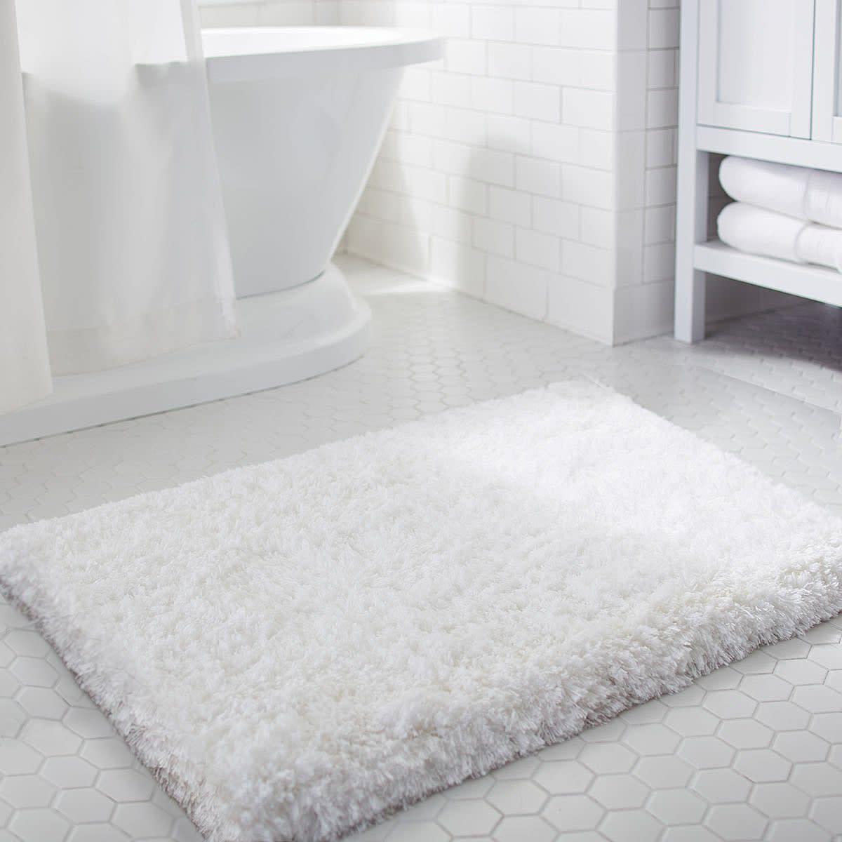Soft Shaggy Bath Mat Non-slip Rubber Bathroom Rug White Floor Mats ...