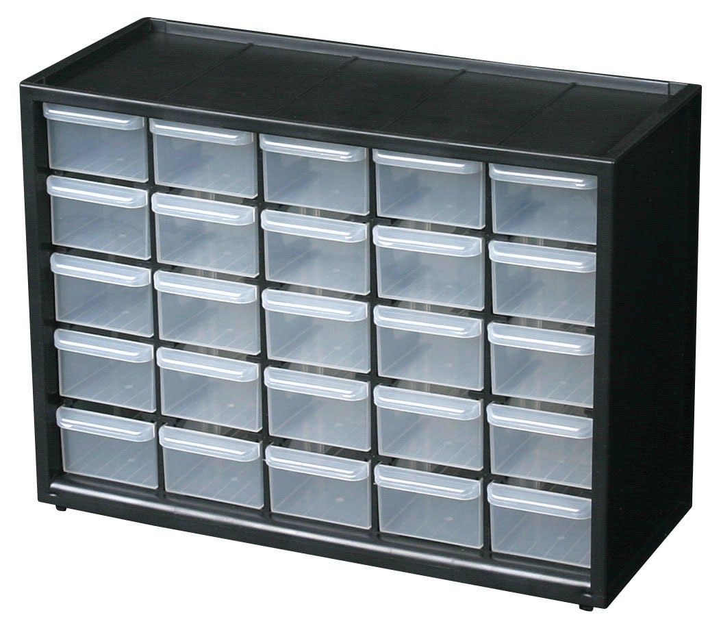 Storage Organizer Cabinet 25 Plastic Drawer Boxes Parts Container ...