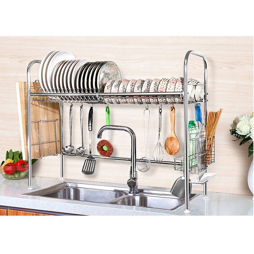2 tier shelf stainless steel dish bowl drying rack over for Kitchen drying rack ikea