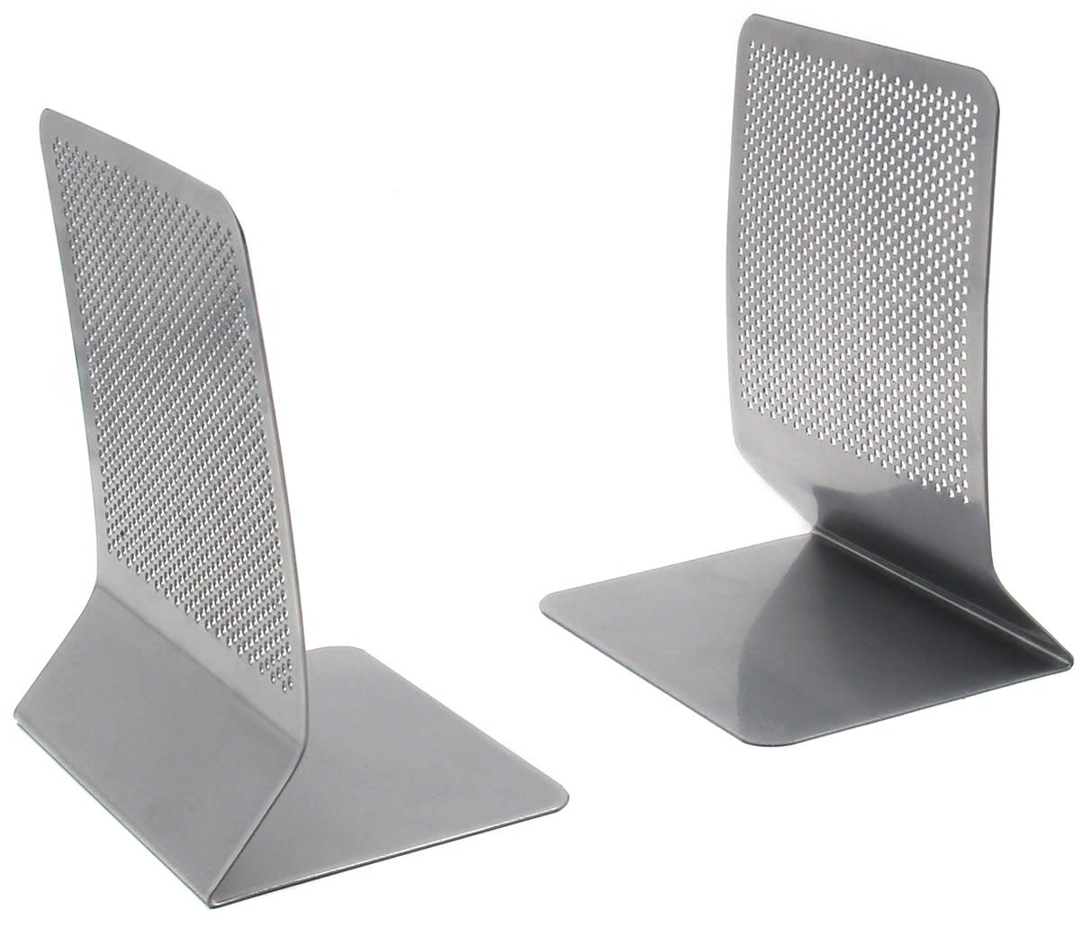 Bookends Mesh Steel Book Stand 1 Pair Silver Desk Accessories Workspace Office
