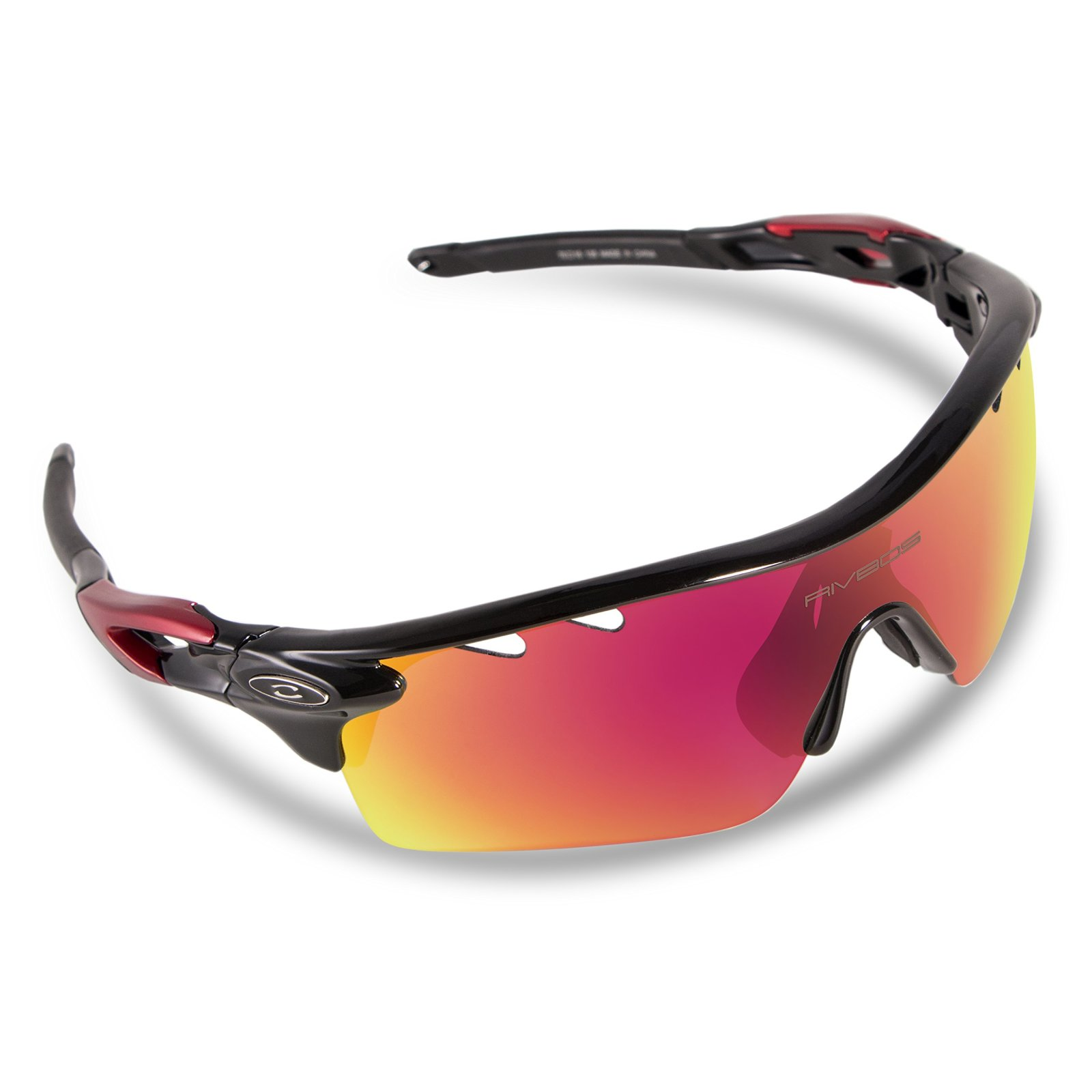 719b38d9ff RIVBOS Polarized Sports Sunglasses Sun Glasses 5 Interchangeable Lenses Red  New