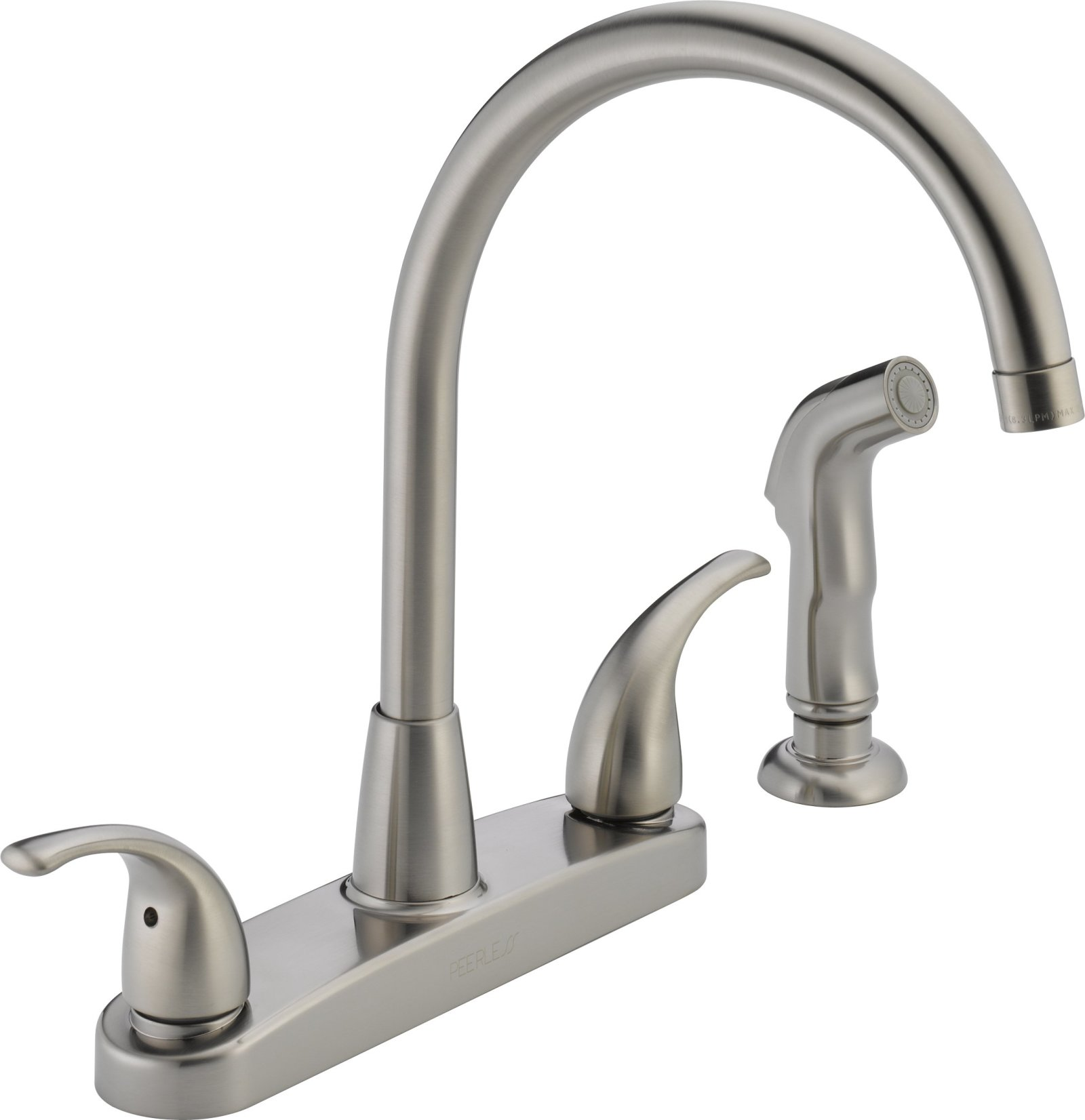 Kitchen sink faucet w side sprayer brushed nickel two handles high arc 4 holes