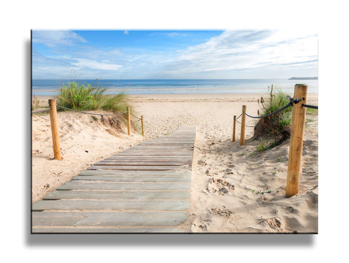Framed] Beach Scenery Blue Sky Nature Picture Prints Canvas Wall Art ...