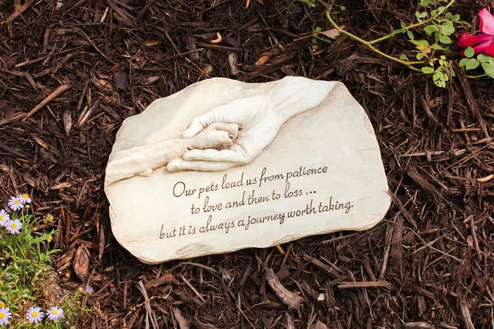 Pet memorial garden stone grave marker dog paw hand print devotion pet memorial garden stone grave marker dog paw hand print devotion statue workwithnaturefo