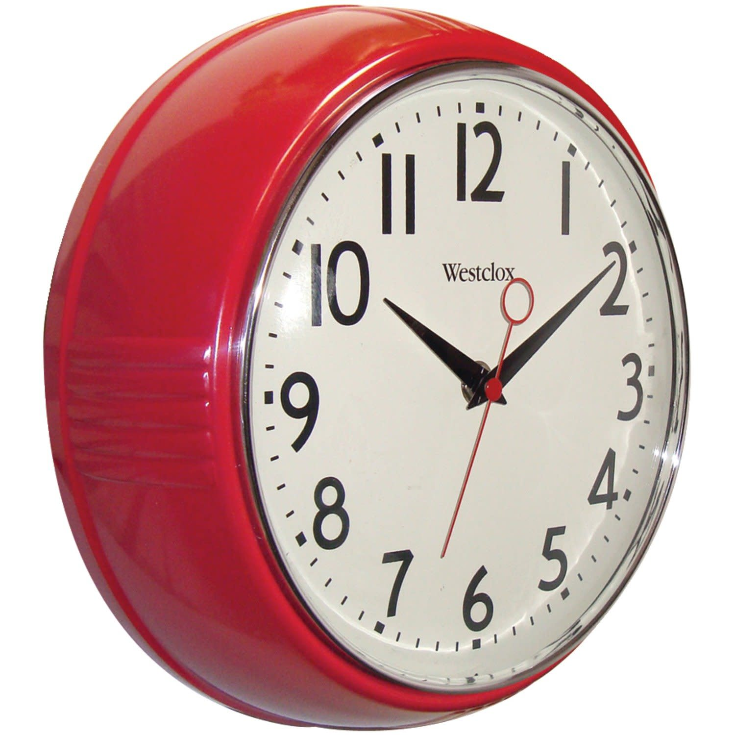 Retro Kitchen Wall Clock 1950s Decor Home Vintage Red Classic Style 9 5