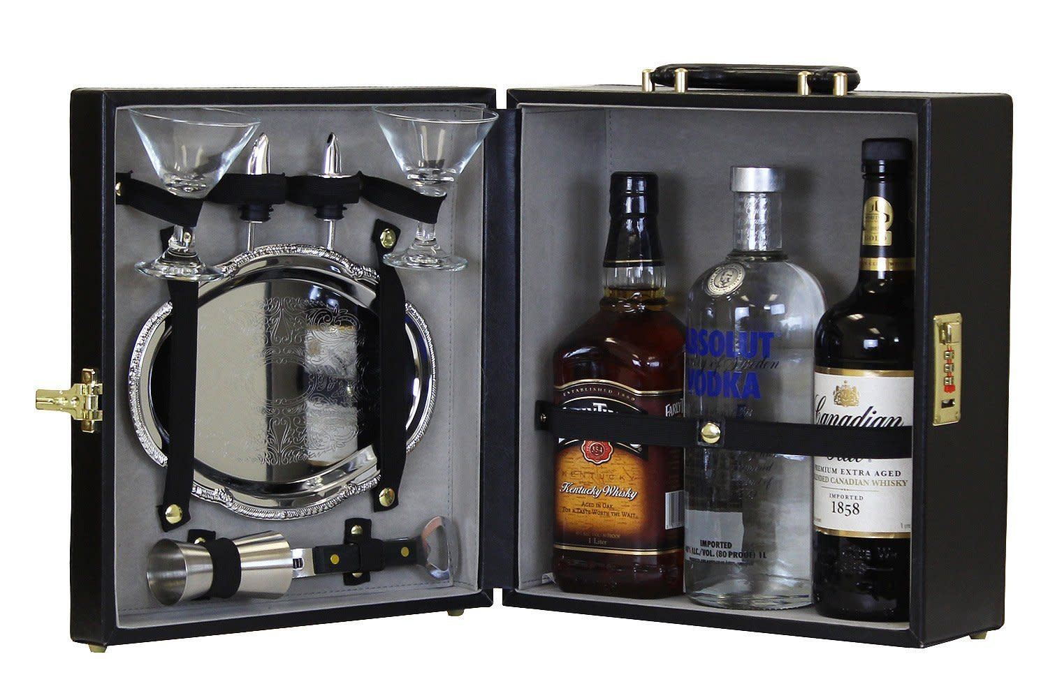 Travel Mini Bar Set Bottle W/Tray Portable Carry Case Flask ...
