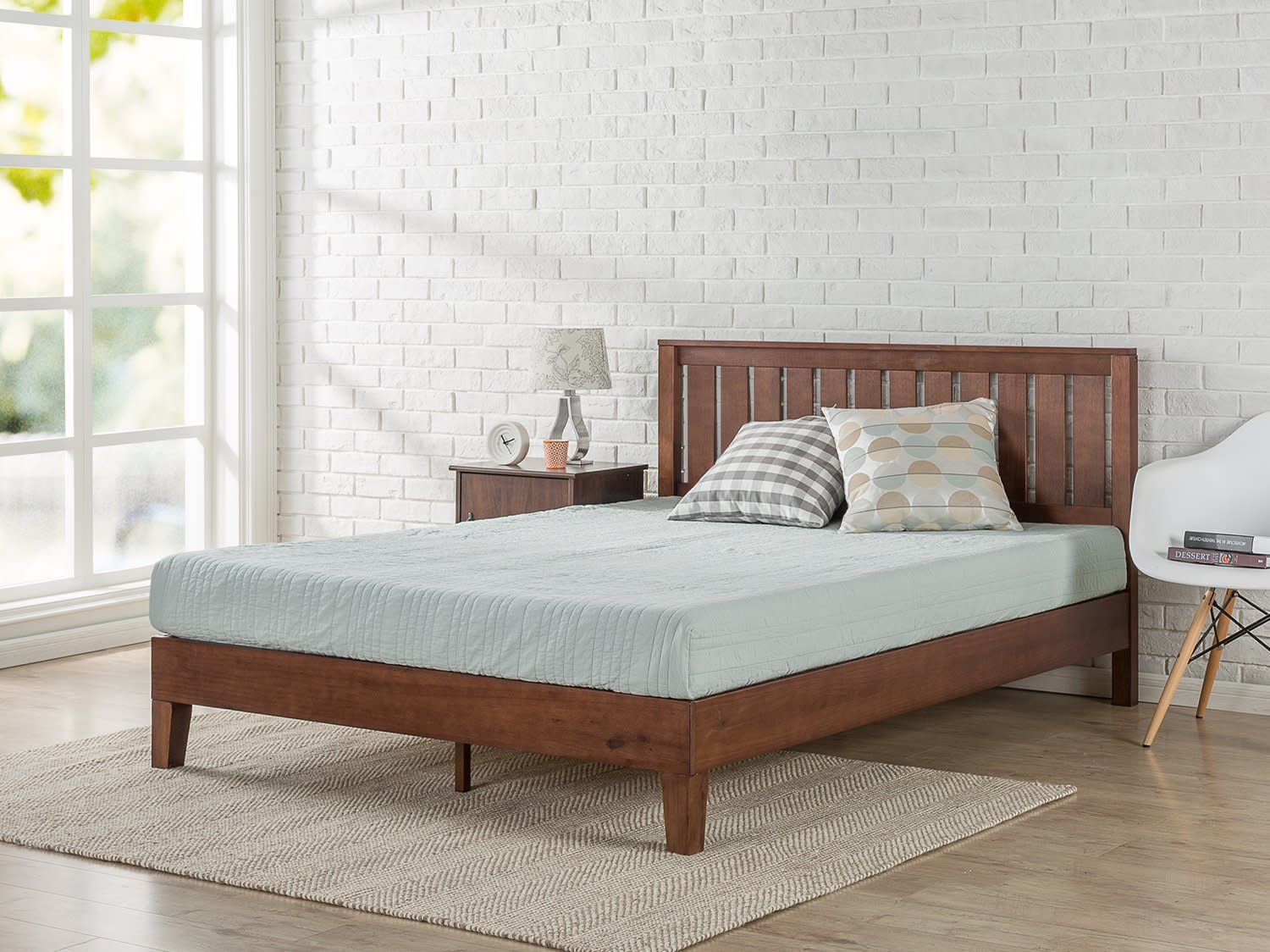 Solid Wood Platform Bed with Headboard Wood Slat Support Antique ...