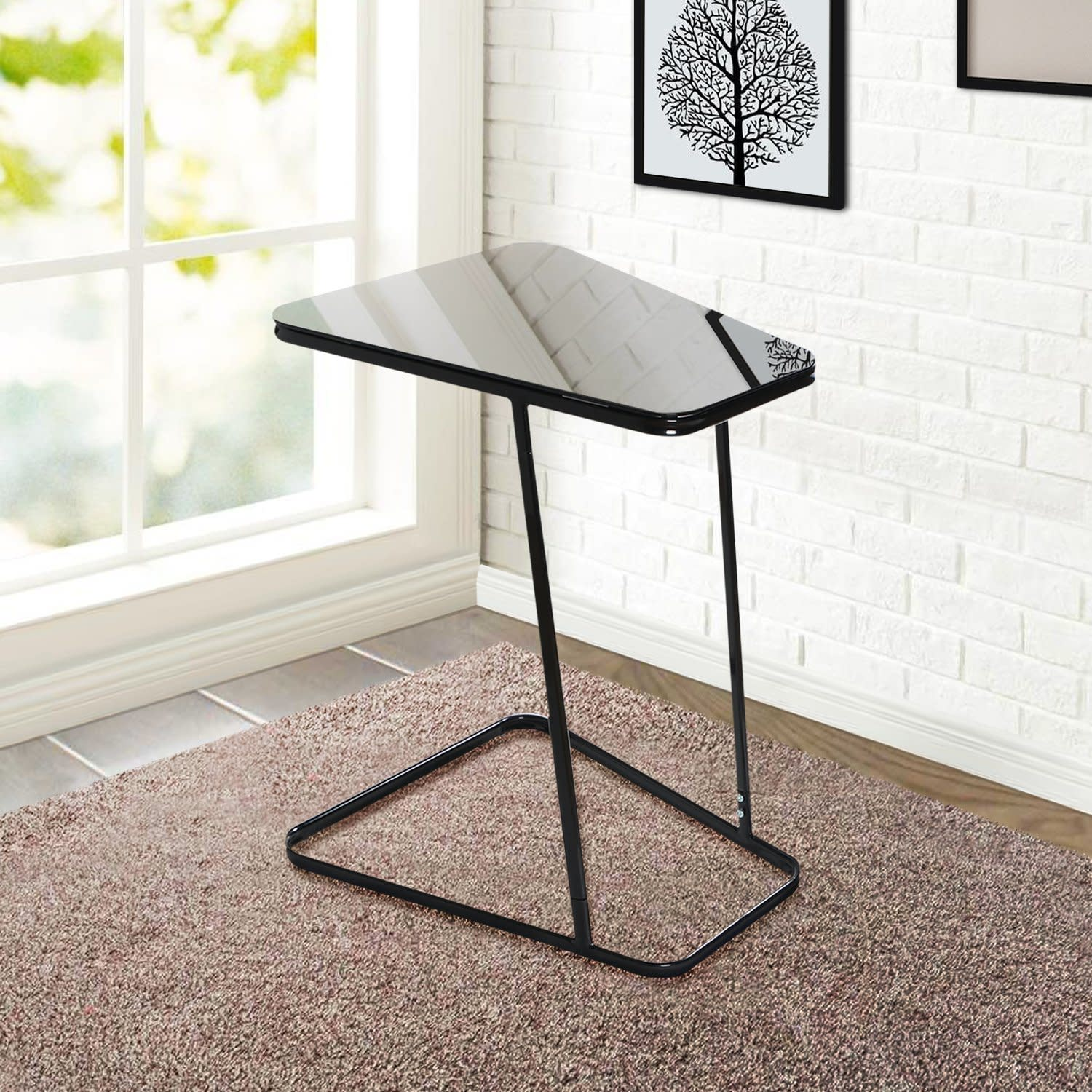 End Table Side Snack Coffee Sofa Bed Chair Durable Tempered Glass Steel  Black RV