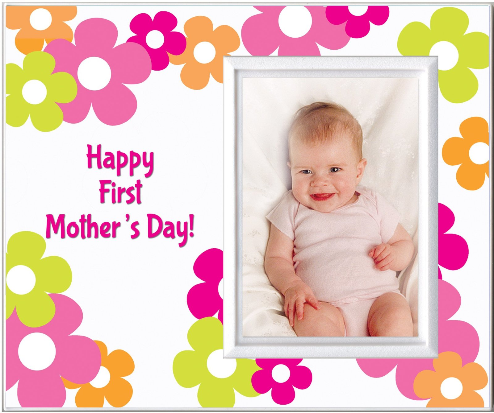 Happy First Mothers Day Picture Frame Pink Daisy Gifts for Mom free ...
