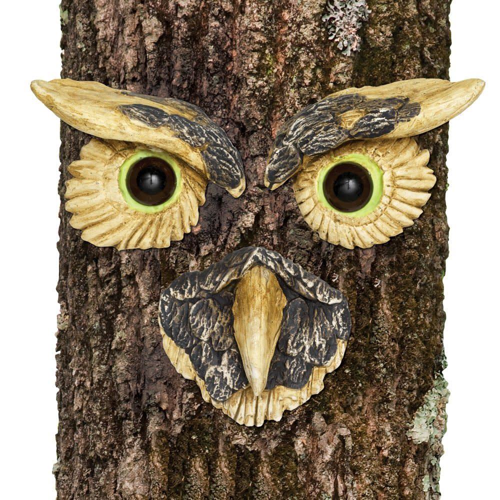 Bits and Pieces-Owl Face Tree Hugger-Garden Peeker Yard Art-Outdoor ...