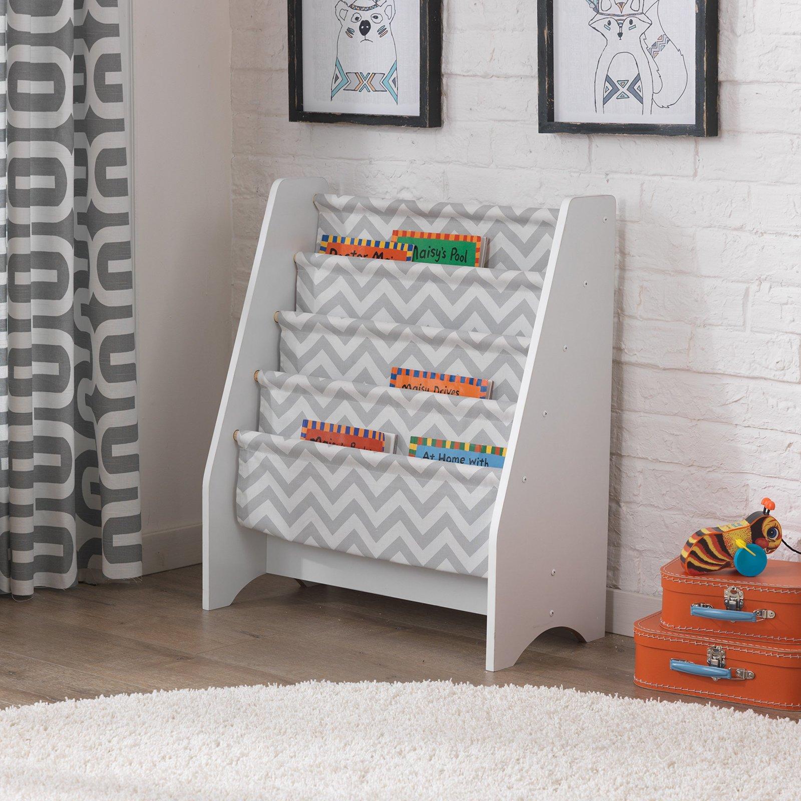 bookcase kids 5 sturdy bookshelf shelving display canvas slings