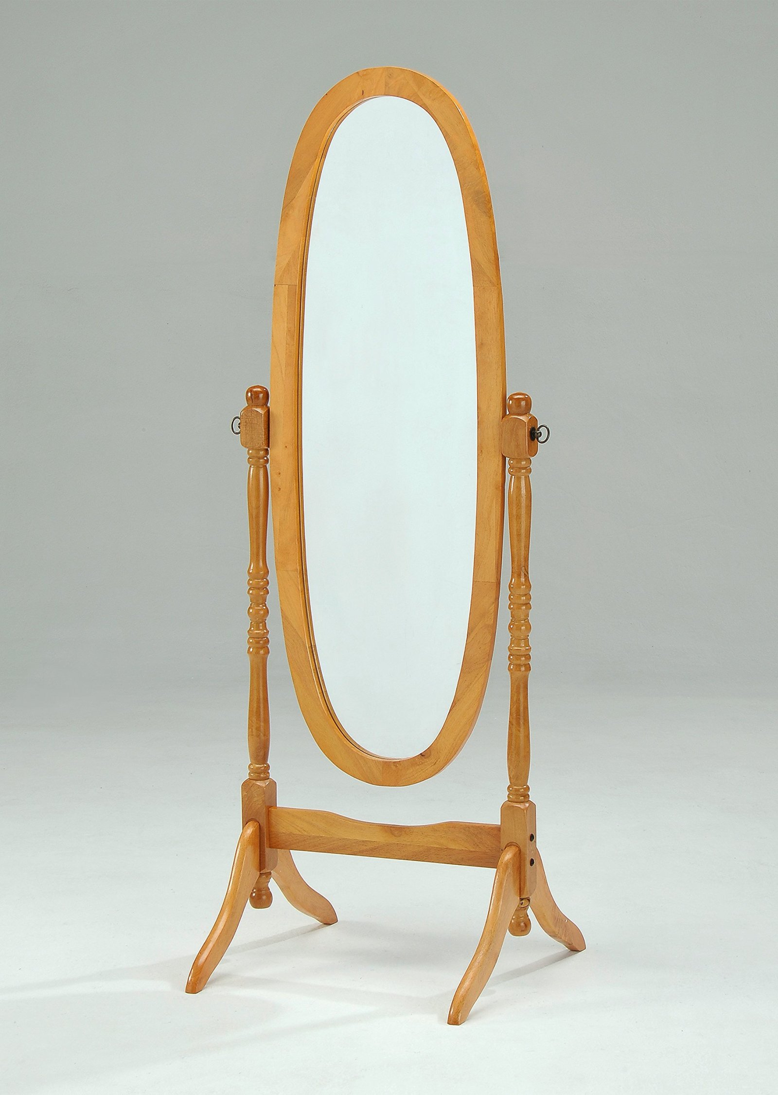 Wooden Cheval Floor Mirror Standing Antique Dressing Table Oak Finish Oval