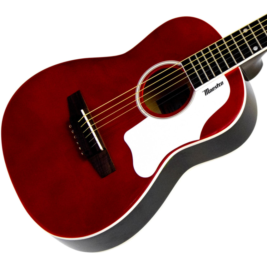 guitar maestro by gibson 30 mini acoustic red guitar for the beach backpacking ebay. Black Bedroom Furniture Sets. Home Design Ideas