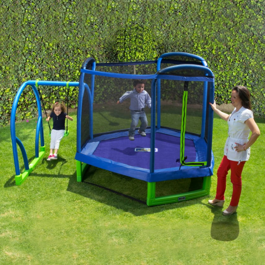 Trampoline Kid Toy Friendly Enclosure Jump And Swing Set