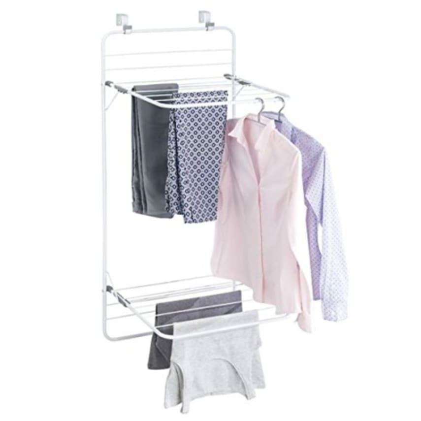 over door laundry drying rack double shelf cloth hanger fold down space saving 689993961590 ebay. Black Bedroom Furniture Sets. Home Design Ideas
