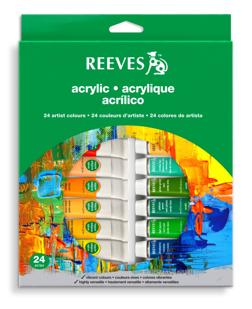 Reeves 24-Pack Acrylic Colour Tube Set, 10ml Top Quality Color Art ...
