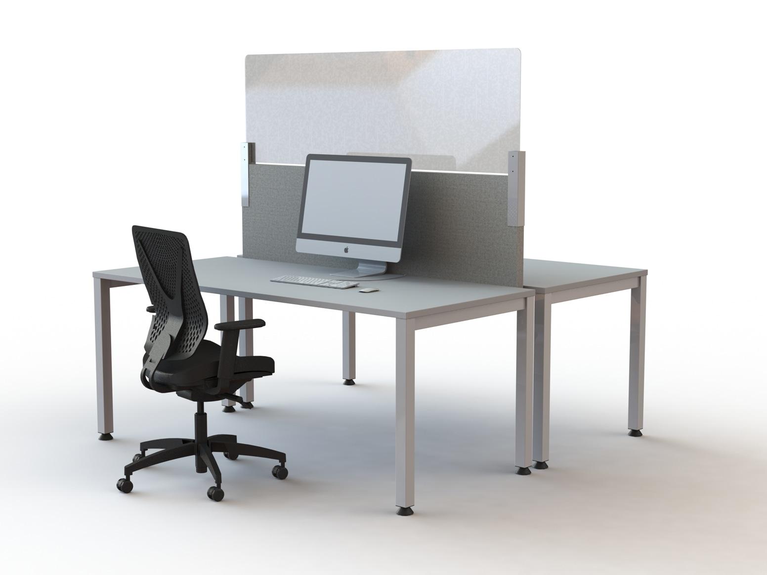 plexiglas wand op akoestisch bureauscherm,